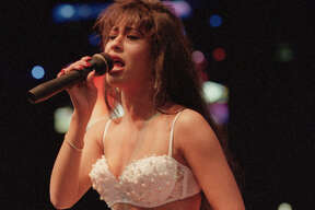 02/27/1994 - Tejano music singer Selena performing at the Houston Livestock Show and Rodeo.
