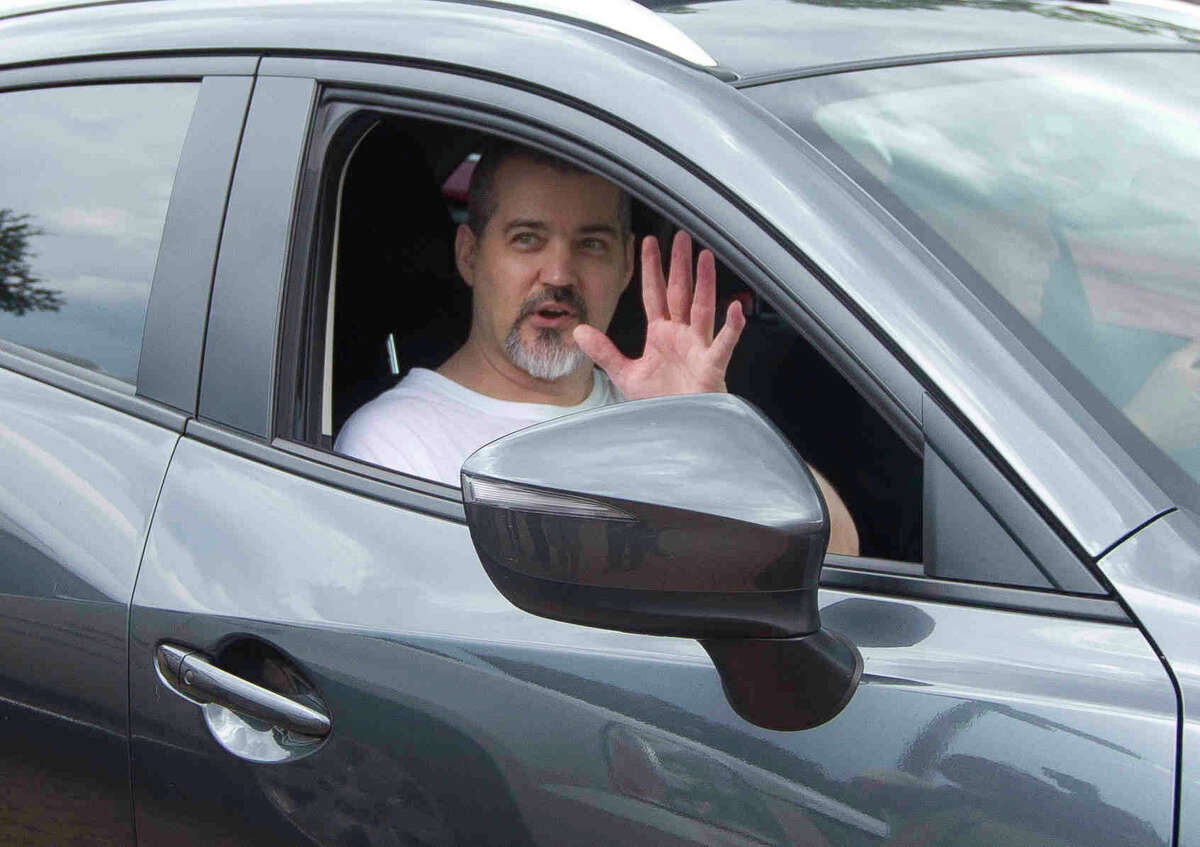 Neal Hampton Robbins walks out of the Montgomery County Jail after being processed for release Thursday.