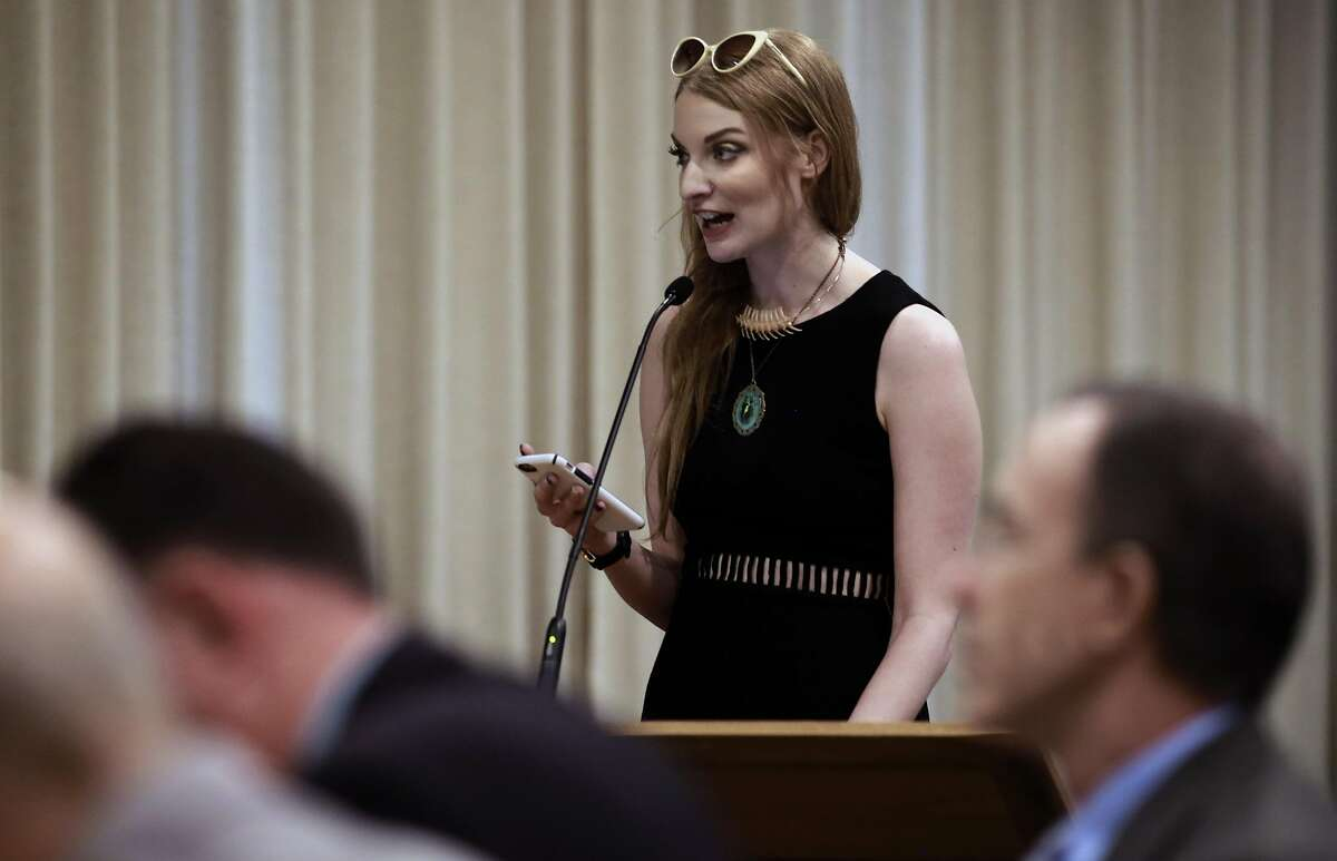 Performer Ela Darling from Los Angeles speaks to the board during a hearing in Walnut Creek, California, on Thurs. Aug. 18, 2016, held by the California State Occupational Safety and Health Standards Board to discuss the issue of requiring adult performers to use condoms.