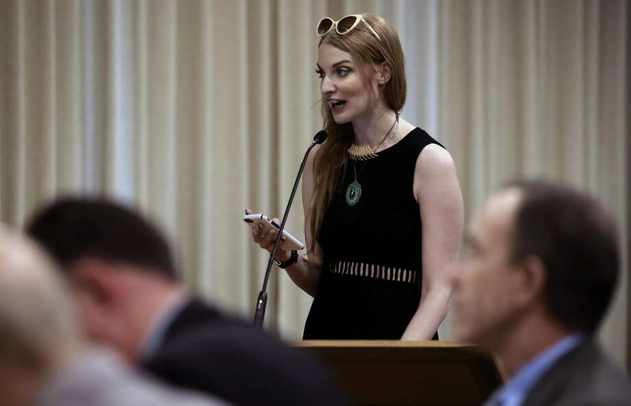 Performer Ela Darling from Los Angeles speaks to the board during a hearing in Walnut Creek, California, on Thurs. Aug. 18, 2016, held by the California State Occupational Safety and Health Standards Board  to discuss the issue of requiring adult performers to use condoms. Photo: Michael Macor, The Chronicle