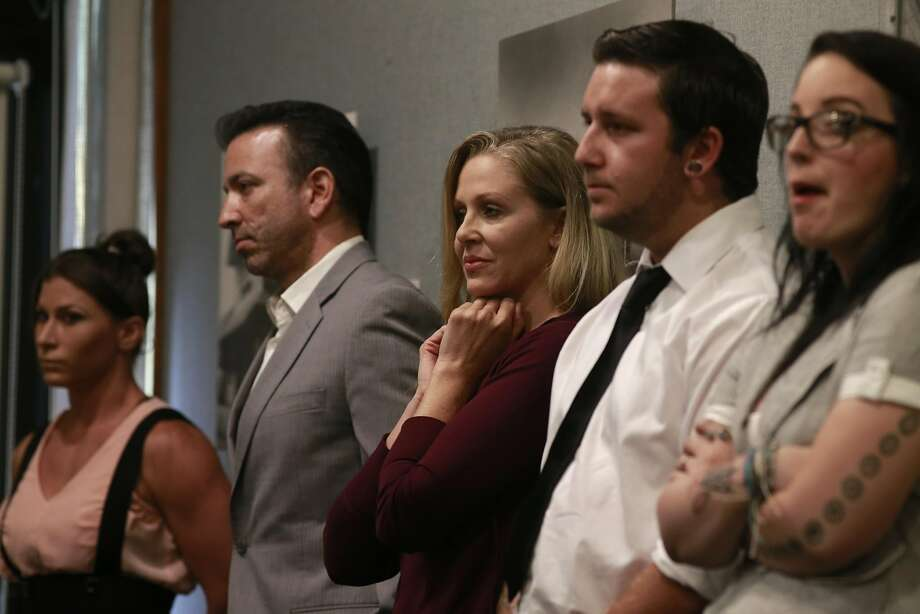 Ariel X, Hernando Chavez, a marriage and family therapist, Julia Ann, performers Justin Wilson and Alyce wait their turn to speak before the board, during a hearing in Walnut Creek, California, on Thurs. Aug. 18, 2016, held by the California State Occupational Safety and Health Standards Board  to discuss the issue of requiring adult performers to use condoms. Photo: Michael Macor, The Chronicle