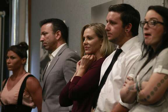 (l for ) Performer Ariel X, Hernando Chavez, a marriage and family therapist, performer Julia Ann, performers Justin Wilson and Alyce wait their turn to speak before the board, during a hearing in Walnut Creek, California, on Thurs. Aug. 18, 2016, held by the California State Occupational Safety and Health Standards Board  to discuss the issue of requiring adult performers to use condoms.