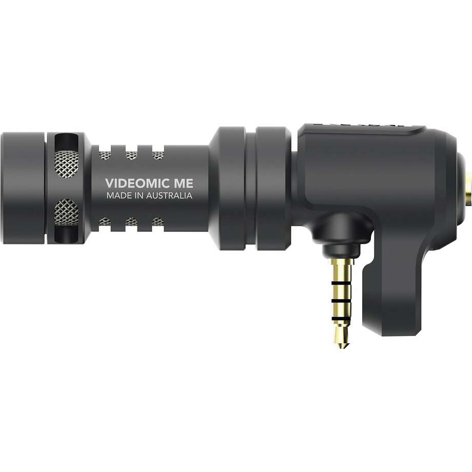 "Rode VideoMic Me Directional Mic for Smart Phones: It's a shotgun hyper-directional microphone that can be pointed at your subject for better sound — talking, music, ambient noise — or back at yourself for narration. Comes with a furry ""dead cat""-style windscreen that works even on a boat on the bay. $59 at www.bhphotovideo.com. (Rode also makes a lavalier mike compatible with iPhones.) Photo: Rode"