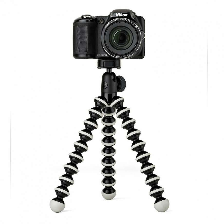 Joby GorillaPod Hybrid: The flexible legs can stand nearly anywhere, as well as wrap around most features — tree limbs, door handles, balcony railings. It has a rotating ball head mount and a quick-release mount with a level. $40 at www.joby.com. Photo: Joby