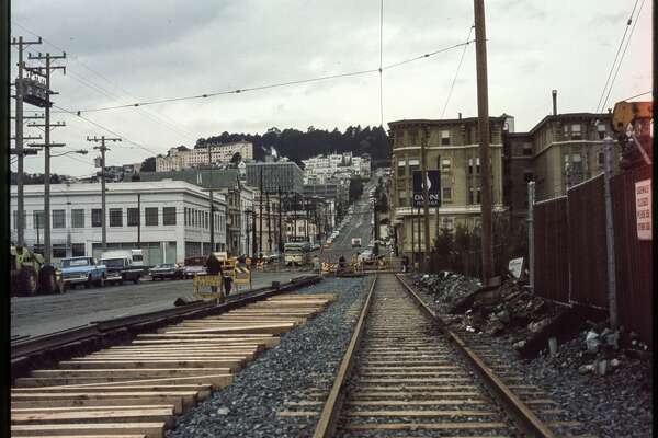 Duboce near Church 1970s track installation, view west up Duboce.  Courtesy of OpenSFHistory.org .