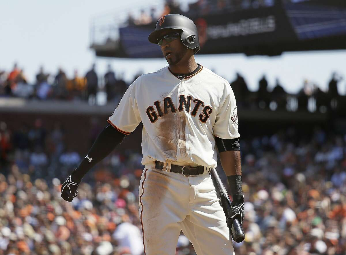San Francisco Giants' Eduardo Nunez reacts after striking out looking against Pittsburgh Pirates relief pitcher Juan Nicasio during the sixth inning of a baseball game Wednesday, Aug. 17, 2016, in San Francisco. Pittsburgh won 6-5. (AP Photo/Eric Risberg)
