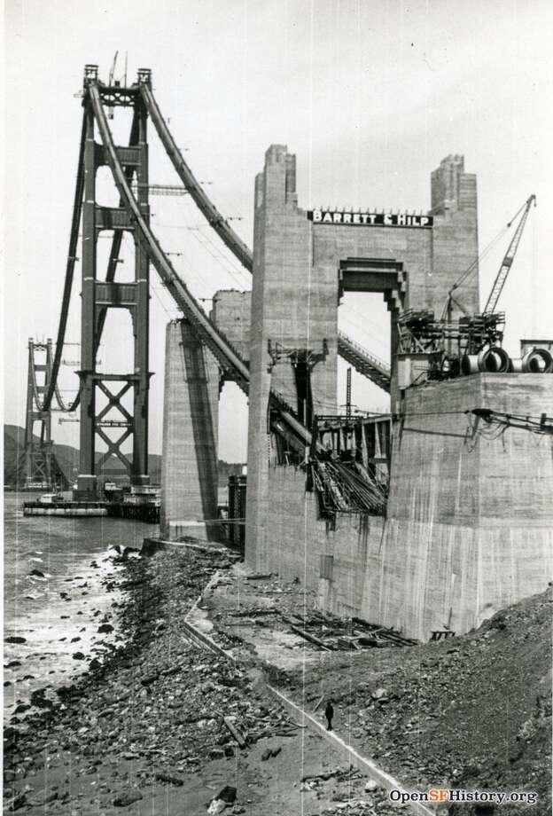 Golden Gate Bridge Under Construction circa 1936. Southern anchorage. Courtesy of OpenSFHistory.org.