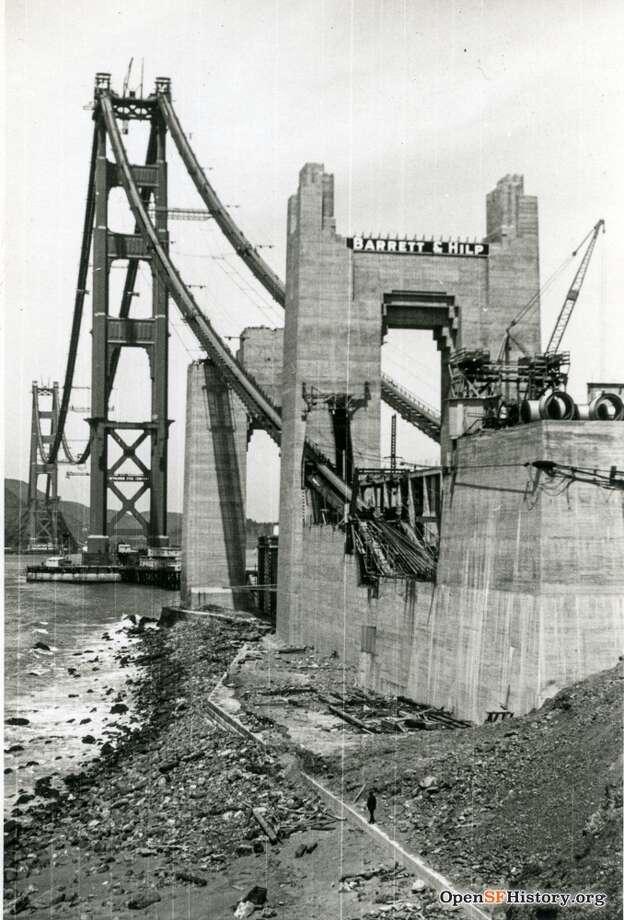 Golden Gate Bridge Under Construction circa 1936. Southern anchorage. Courtesy of OpenSFHistory.org. Photo: Courtesy Of OpenSFHistory.org