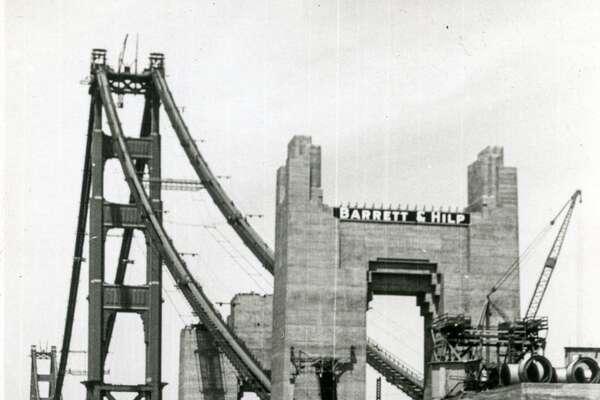 Golden Gate Bridge Under Construction circa 1936. Southern anchorage.  Courtesy of OpenSFHistory.org .