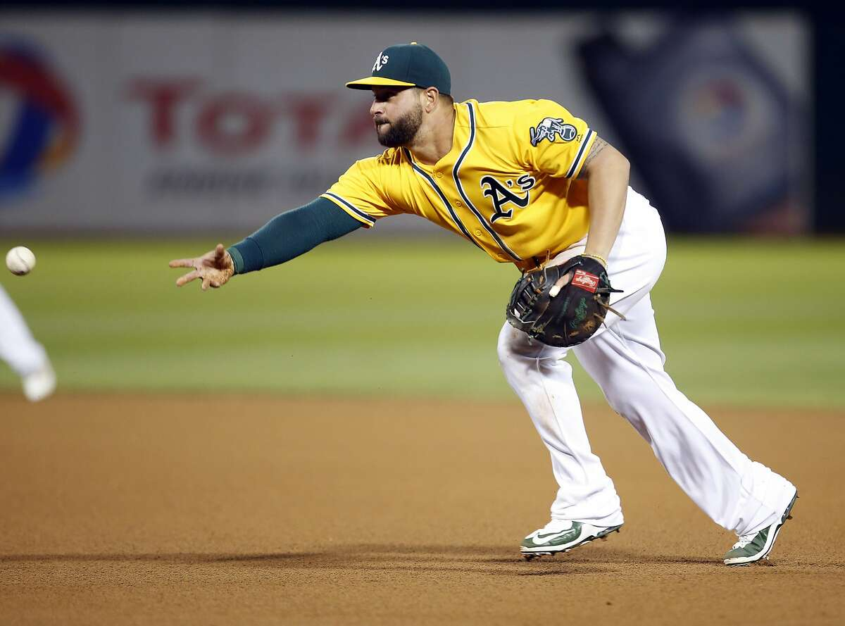 Oakland Athletics first baseman Yonder Alonso tosses to first base for the out against Baltimore Orioles' Chris Davis during the seventh inning of a baseball game Wednesday, Aug. 10, 2016, in Oakland, Calif. (AP Photo/Tony Avelar)