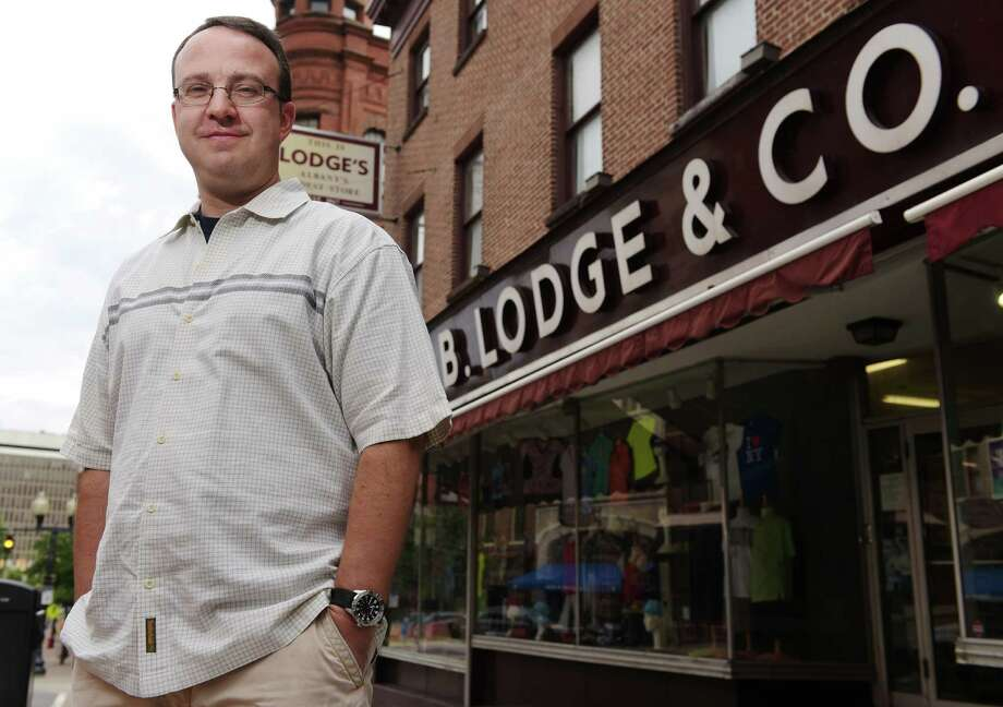 Mark Yonally, president of B. Lodge & Co (Lodge's), poses for a photo outside his store on Tuesday, August 16, 2016, in Albany, N.Y.    (Paul Buckowski / Times Union) Photo: PAUL BUCKOWSKI / 20037664A