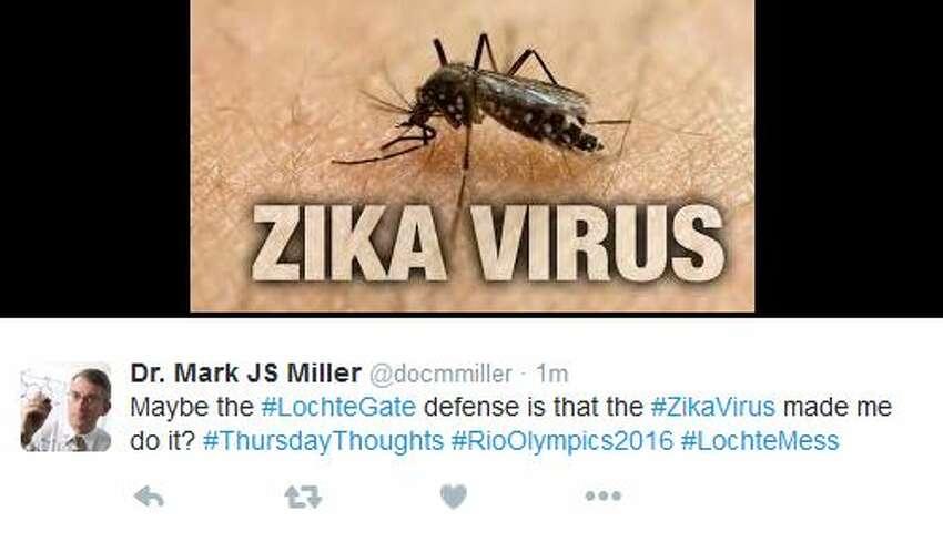 Dr. Mark JS Miller @docmmiller Maybe the #LochteGate defense is that the #ZikaVirus made me do it? #ThursdayThoughts #RioOlympics2016 #LochteMess