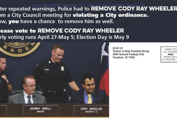 A mailer distributed by a political action commitee funded by Pasadena Mayor Johnny Isbell. Councilman Cody Ray Wheeler was removed for exceeding a speaking time limit.