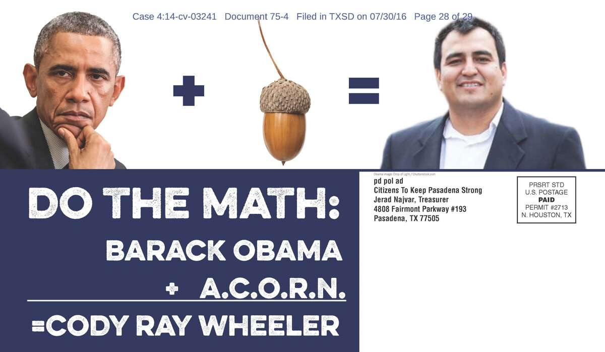 A page from a mailer targeting Pasadena City Council candidate Cody Ray Wheeler. (Image: Federal court files)