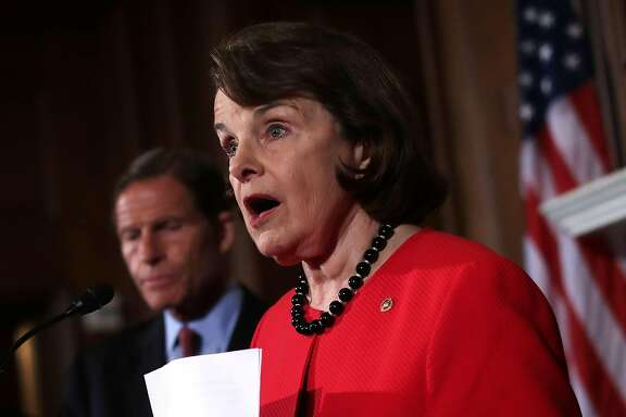 WASHINGTON, DC - JUNE 20:  U.S. Sen. Dianne Feinstein (D-CA) speaks as Sen. Richard Blumenthal (D-CT) looks on at a news conference on gun control at the Capitol June 20, 2016 in Washington, DC. The Senate failed to pass four competing amendments on gun control just a week after the nation's worst mass shooting in modern history at a gay nighclub in Orlando, Florida.  (Photo by Alex Wong/Getty Images)