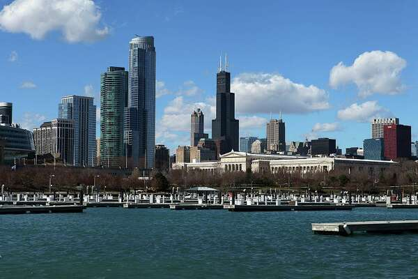 CHICAGO -  MARCH 16:  Partial view of Chicago Skyline, as photographed from Burnham Harbor in Chicago, Illinois on March 16, 2016.  (Photo By Raymond Boyd/Getty Images)