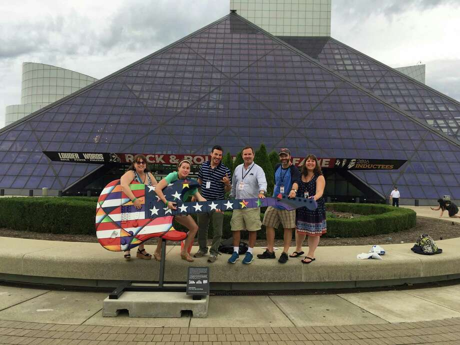 Lettitia Long, left, outside the Rock & Roll Hall of Fame in Cleveland, Ohio, where she attended a conference on bringing music into the classroom with six other tri-state area teachers. Photo: Contributed Photos