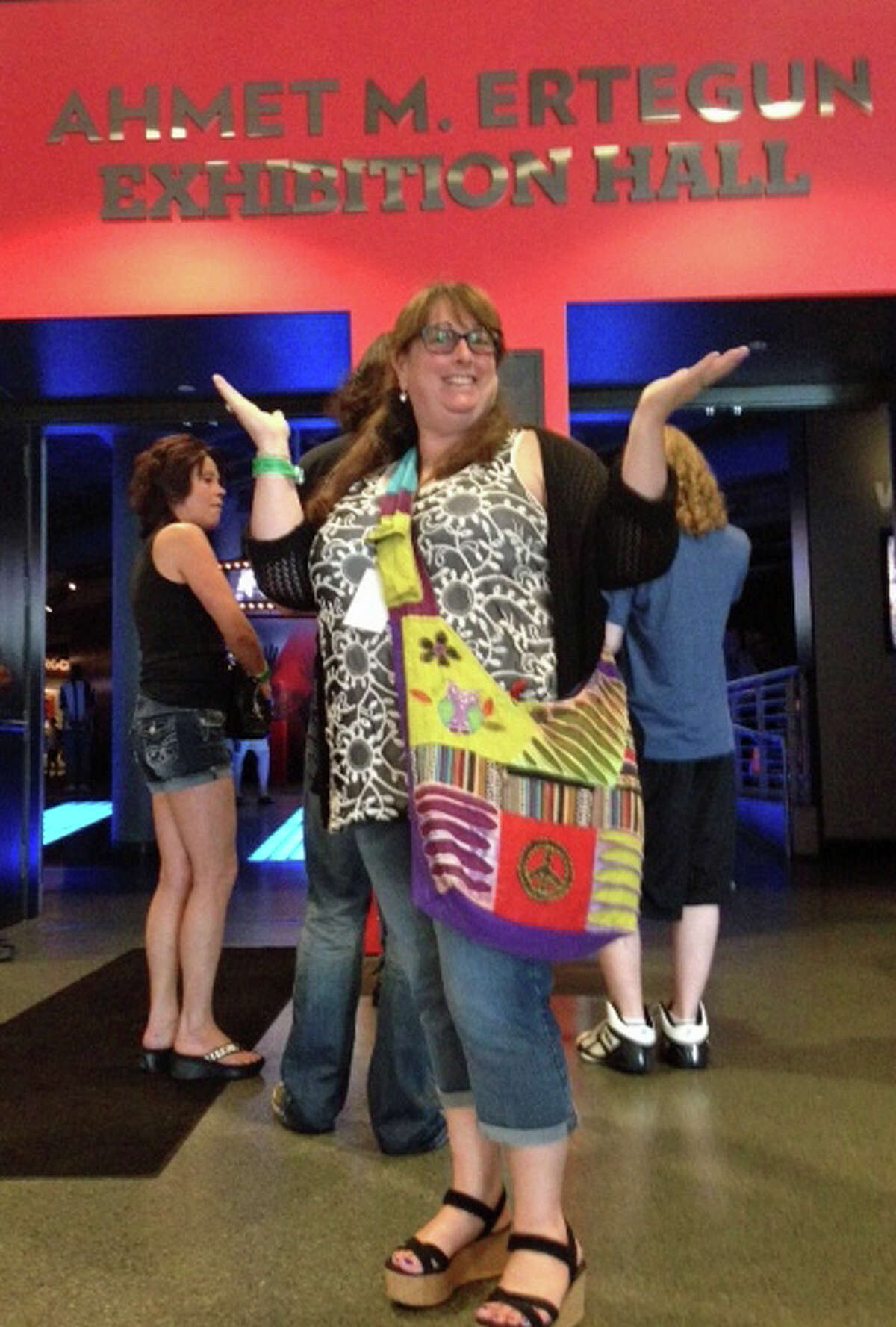Hamilton Avenue literacy specialist Lettitia Long in an exhibit at the Rock & Roll Hall of Fame earlier this week.
