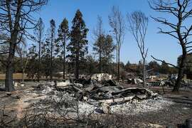 The home of Karen and Matthew Porter is seen destroyed by the Clayton Fire in Lower Lake, California, on Thursday, Aug. 18, 2016. Matthew Porter is the armorer for the U.S Olympic fencing team and stored his equipment in his garage.