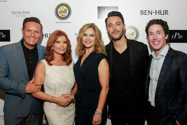 Executive producers Mark Burnett and Roma Downey, from left, Victoria Osteen, Jack Huston and Joel Osteen on the red carpet at Ben Hur.  (For the Chronicle/Gary Fountain, August 18, 2016)