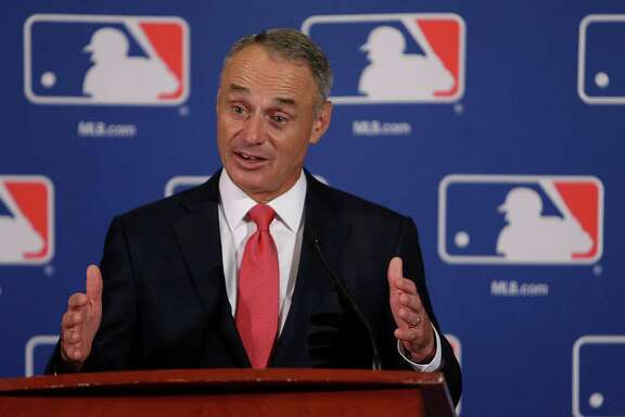"MLB commissioner Rob Manfred sees a pitch clock, which has been in use in Class AA and AAA since last year, as useful in helping ""to move the game along."""