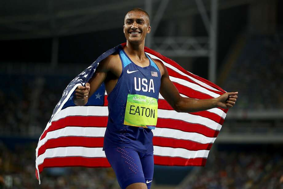 RIO DE JANEIRO, BRAZIL - AUGUST 18:  Ashton Eaton of the United States celebrates after the Men's Decathlon 1500m and winning gold overall on Day 13 of the Rio 2016 Olympic Games at the Olympic Stadium on August 18, 2016 in Rio de Janeiro, Brazil.  (Photo by Cameron Spencer/Getty Images) Photo: Cameron Spencer, Getty Images