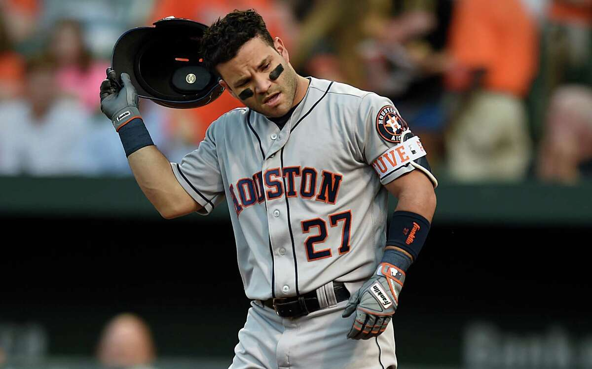 Aug. 18: Orioles 13, Astros 5 Houston Astros' Jose Altuve removes his batting helmet after striking out against the Baltimore Orioles in the first inning of a baseball game, Thursday, Aug. 18, 2016, in Baltimore. (AP Photo/Gail Burton)