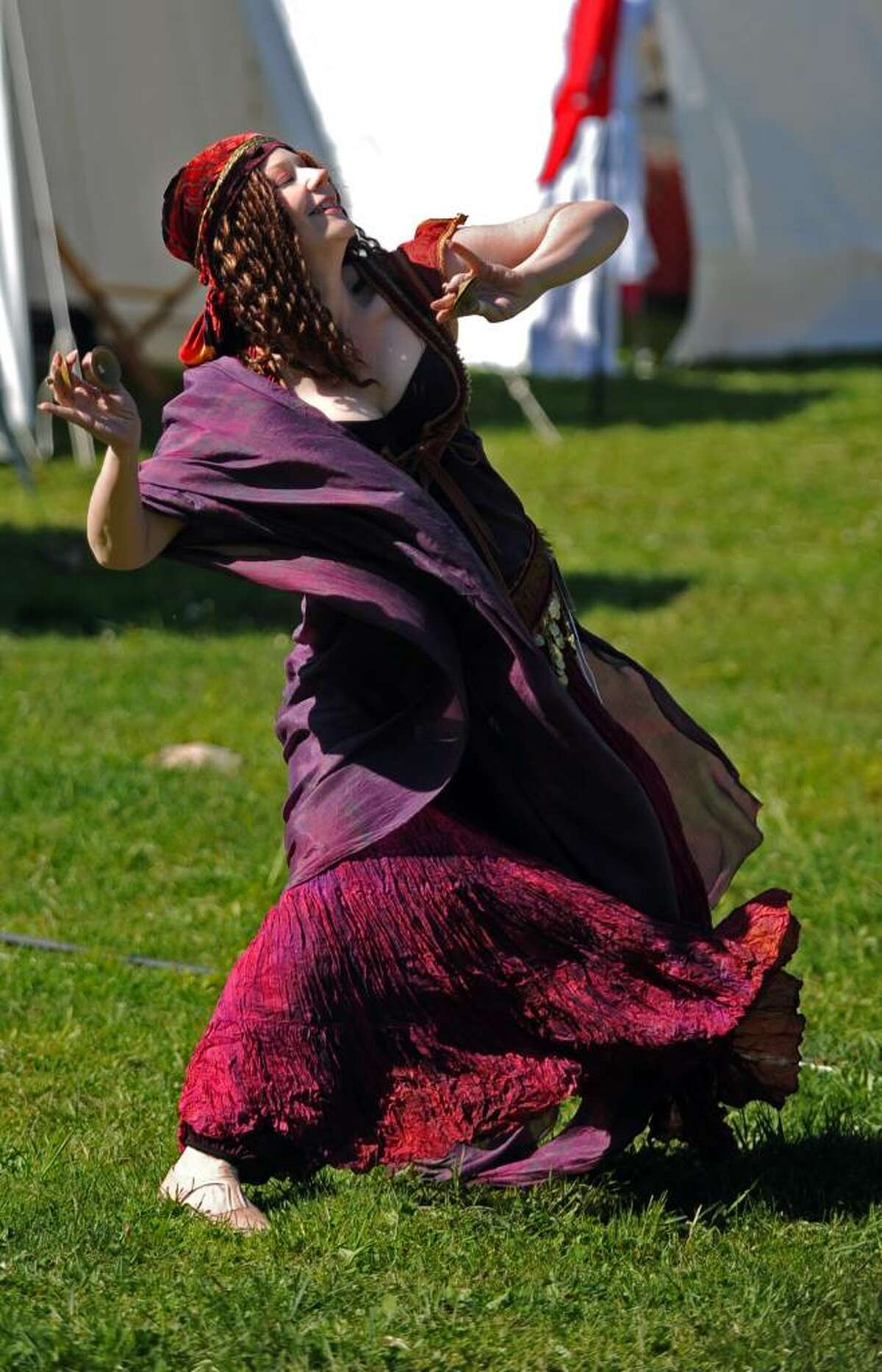 Donna Lococo, one third of the group Zabeebah!, bellydances during the 12th annual Beltaine Festival at Schreiber's Farm in Oxford on Friday April 30, 2010.