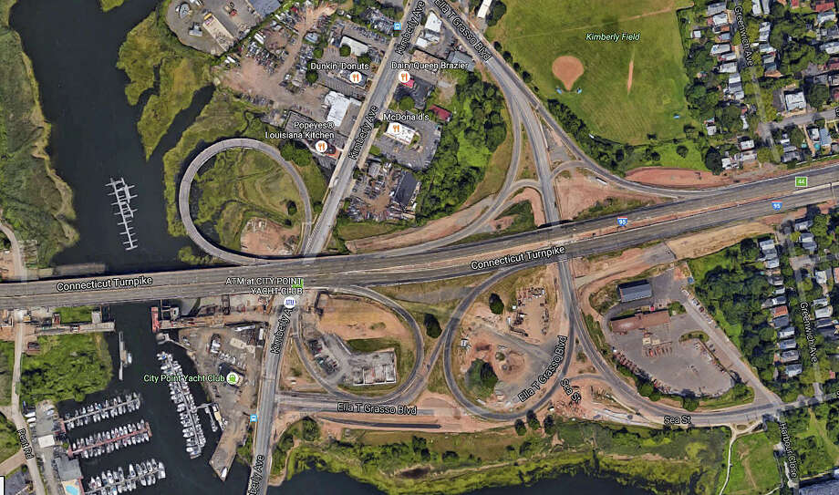 This is the area of I-95 in the West Haven/New Haven area, near Exit 44, where a new southbound bridge over the West River will open to traffic during the overnight hours of Friday, Aug. 19, 2016. Photo: Google Earth Image