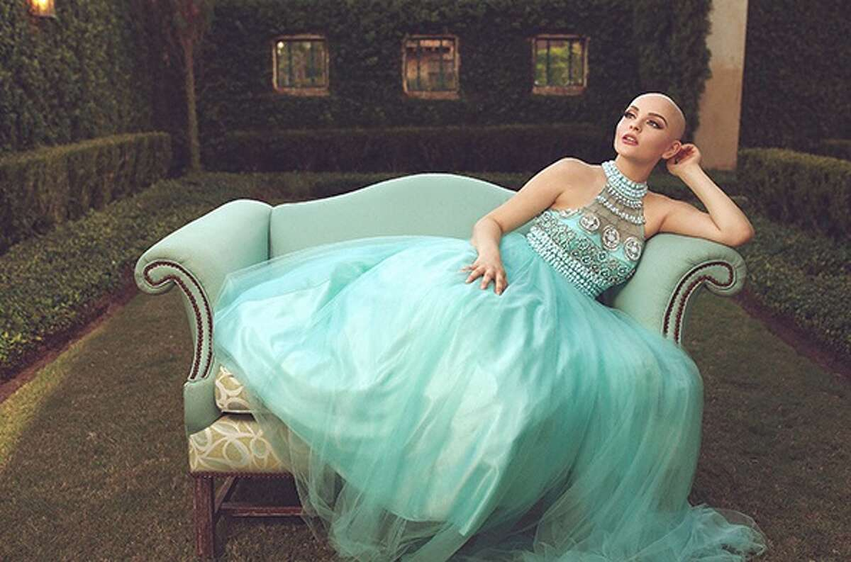 """McAllen native Andrea Sierra Salazar, 17, worked with photographer Gerardo Garmendia for a photoshoot in which she chose to not wear a wig to celebrate the fact that cancer does not stop her from being a """"princess."""""""