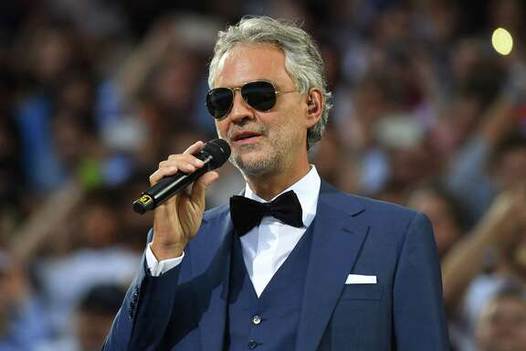 Italian classical singer Andrea Bocelli performs ahead of the start of the UEFA Champions League final football match between Real Madrid and Atletico Madrid at San Siro Stadium in Milan, on May 28, 2016. / AFP PHOTO / GERARD JULIENGERARD JULIEN/AFP/Getty Images
