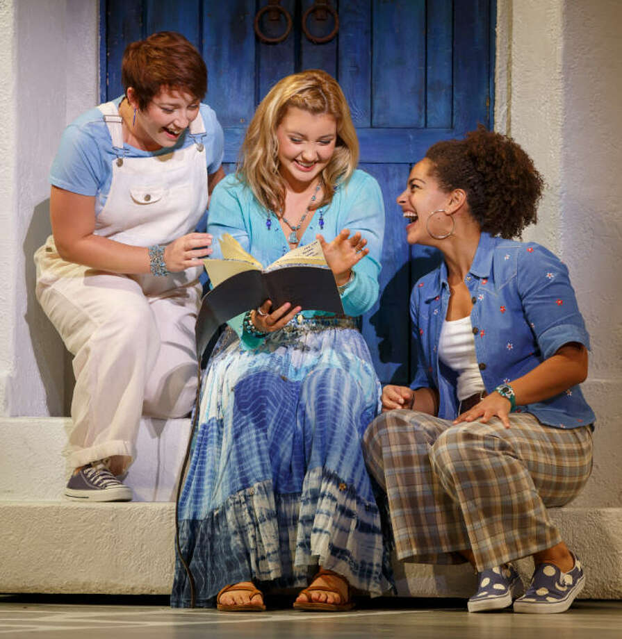 "Kat Borrelli, left, Kyra Belle Johnson and Christina Eskridge in the ""Mamma Mia!"" 2015 North American Tour."