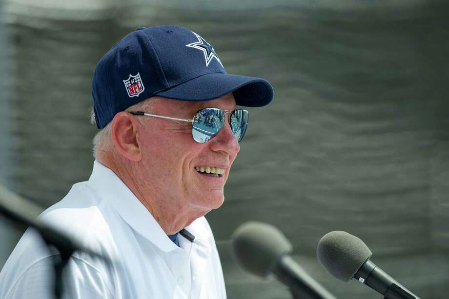 "Owner Jerry Jones, giving the state-of-the-team address at training camp on July 29, is gambling that the Cowboys' high-powered offense can make up for ""challenges' on defense. Photo: Gus Ruelas /Associated Press / FR157633 AP"
