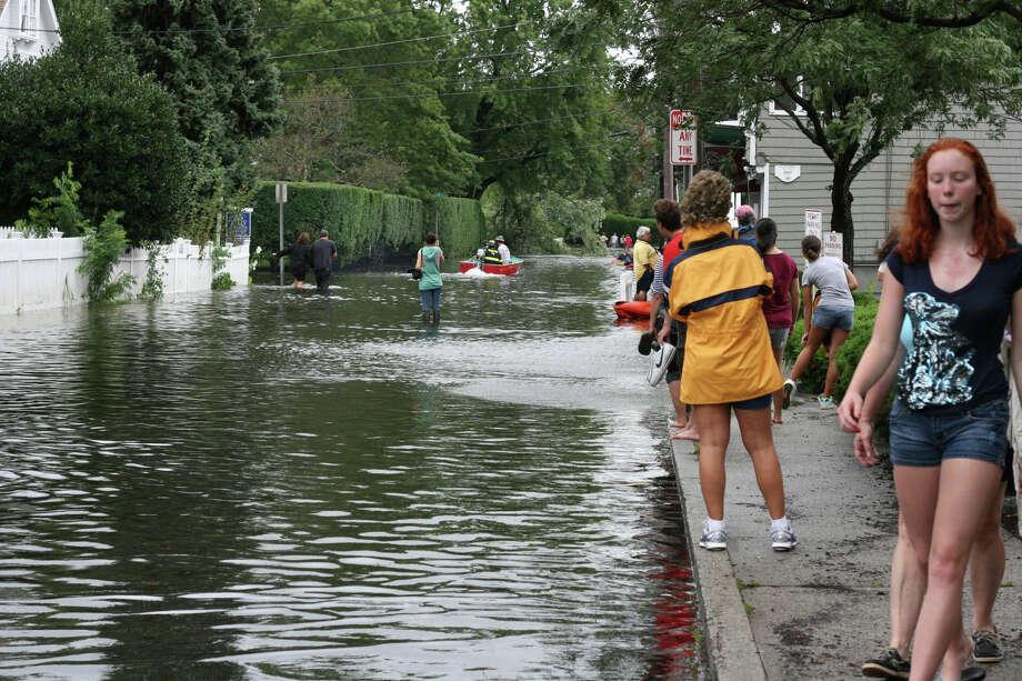 Flooding on Rowayton Avenue in Norwalk, Conn., on August 28, 2011 after the remnants of Hurricane Irene struck Connecticut. Photo: St. John Johnson / St. John Johnson / Norwalk Citizen