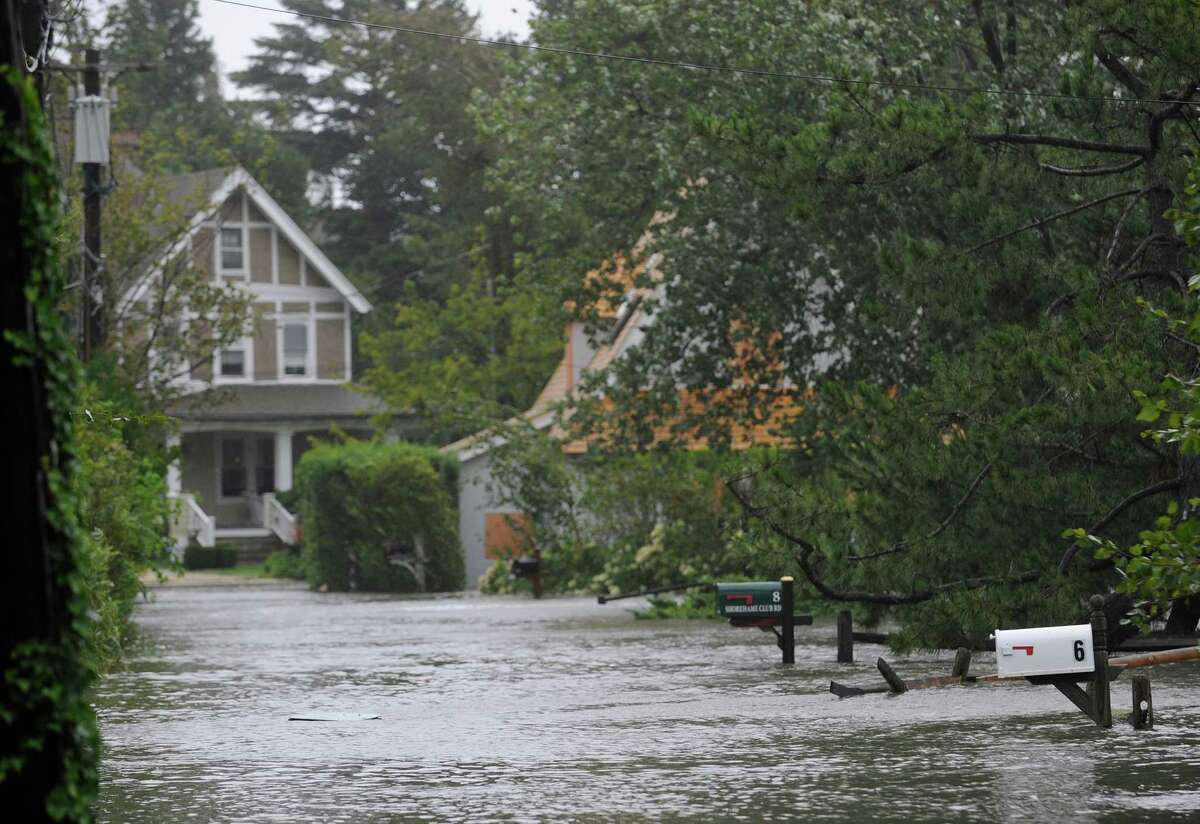 A flooded Shoreham Club Road in Old Greenwich during Hurricane Irene on Aug. 28, 2011.