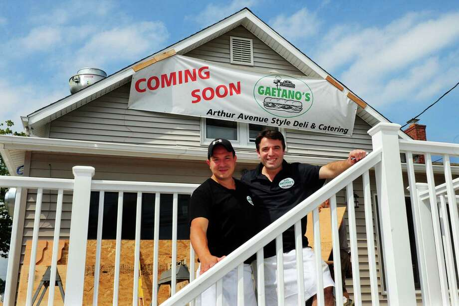 Owners Gaetano Catalano and Milano Ukehaxhaj, right, pose at the future of home of Gaetano's Deli along Barnum Avenue in Stratford, Conn. on Tuesday August 16, 2016. The other location, on Main Street, has been there alomost 20 years. This new location will offer more parking and a selection of foods that arent offered on Main Street because of limited space. Photo: Christian Abraham / Hearst Connecticut Media / Connecticut Post