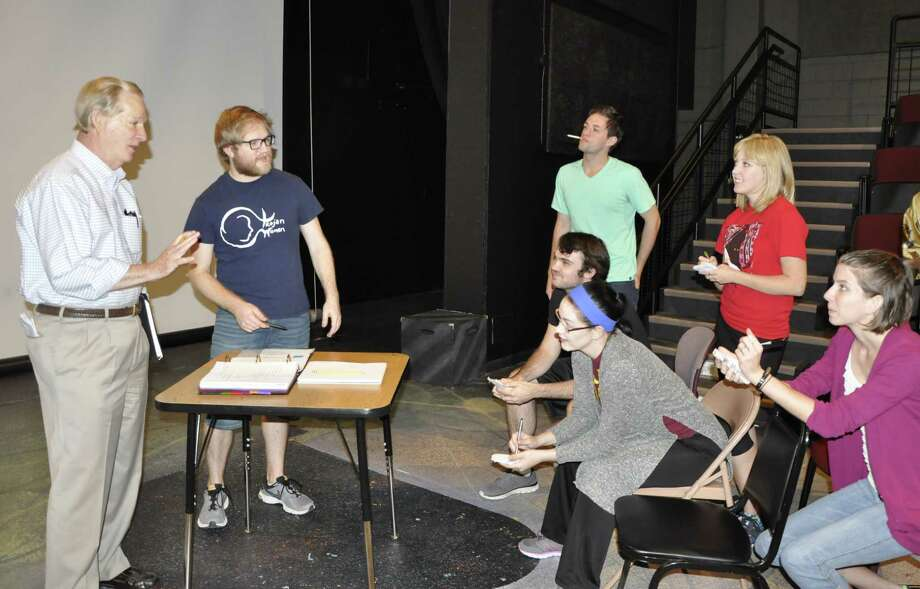 """Playwright Peter Roussel, far left, leads Sam Houston State University studentsin a rehearsal for """"Ruffled Flourishes,"""" which premieres with two performances Saturday at the school's University Theatre Center. Photo: Courtesy"""