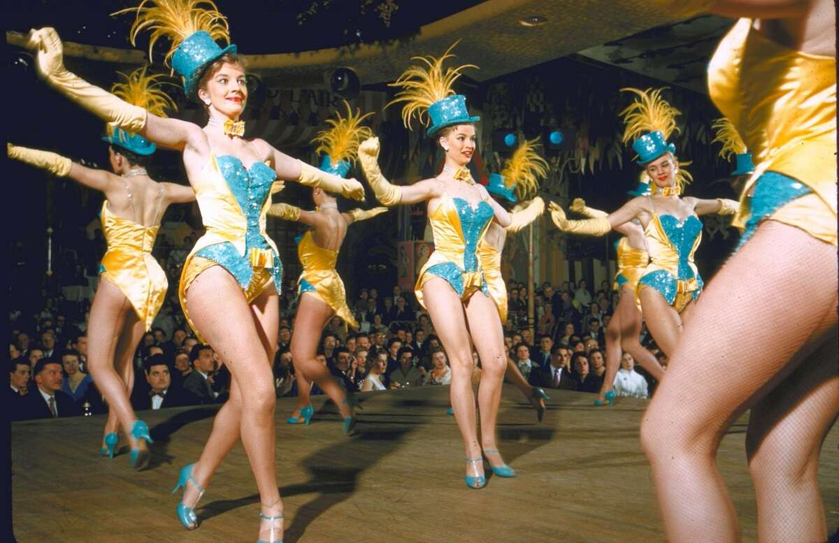 Margaret Kelly Dancers of England performing routine on stage at the Moulin Rouge nightclub.