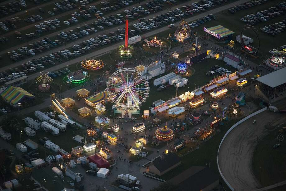 Aerial view of the Midland County Fair and Fairgrounds seen on Thursday, August 28, 2016. Photo: Theophil Syslo