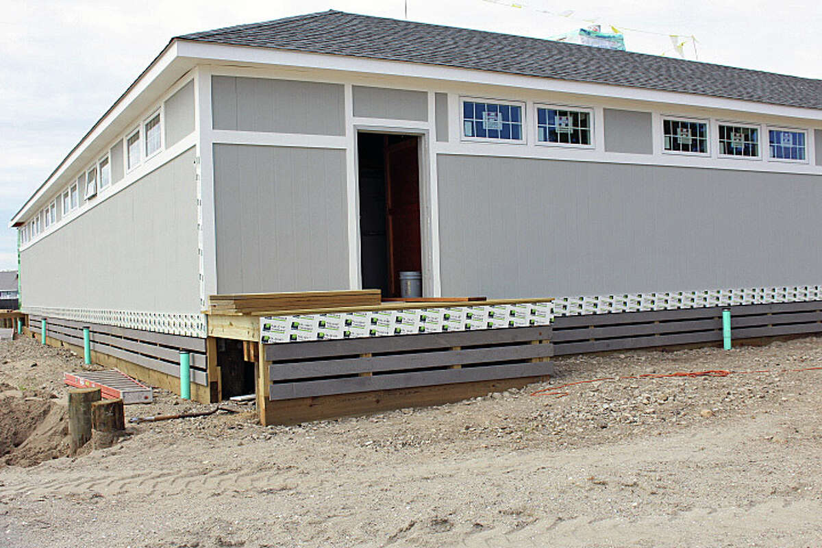 The new east wing of lockers at Penfield Pavilion in nearly complete, and the reconstruction of the Sandy-damaged pavilion is about three weeks ahead of schedule. Fairfieldl, CT. 8/18/16