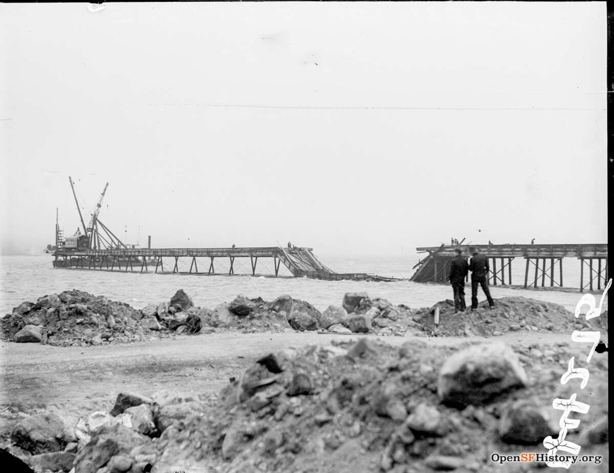 Golden Gate Bridge, Damaged Trestle circa 1934, View from Fort Point. Trestle built for constructing San Francisco tower. Courtesy of OpenSFHistory.org.