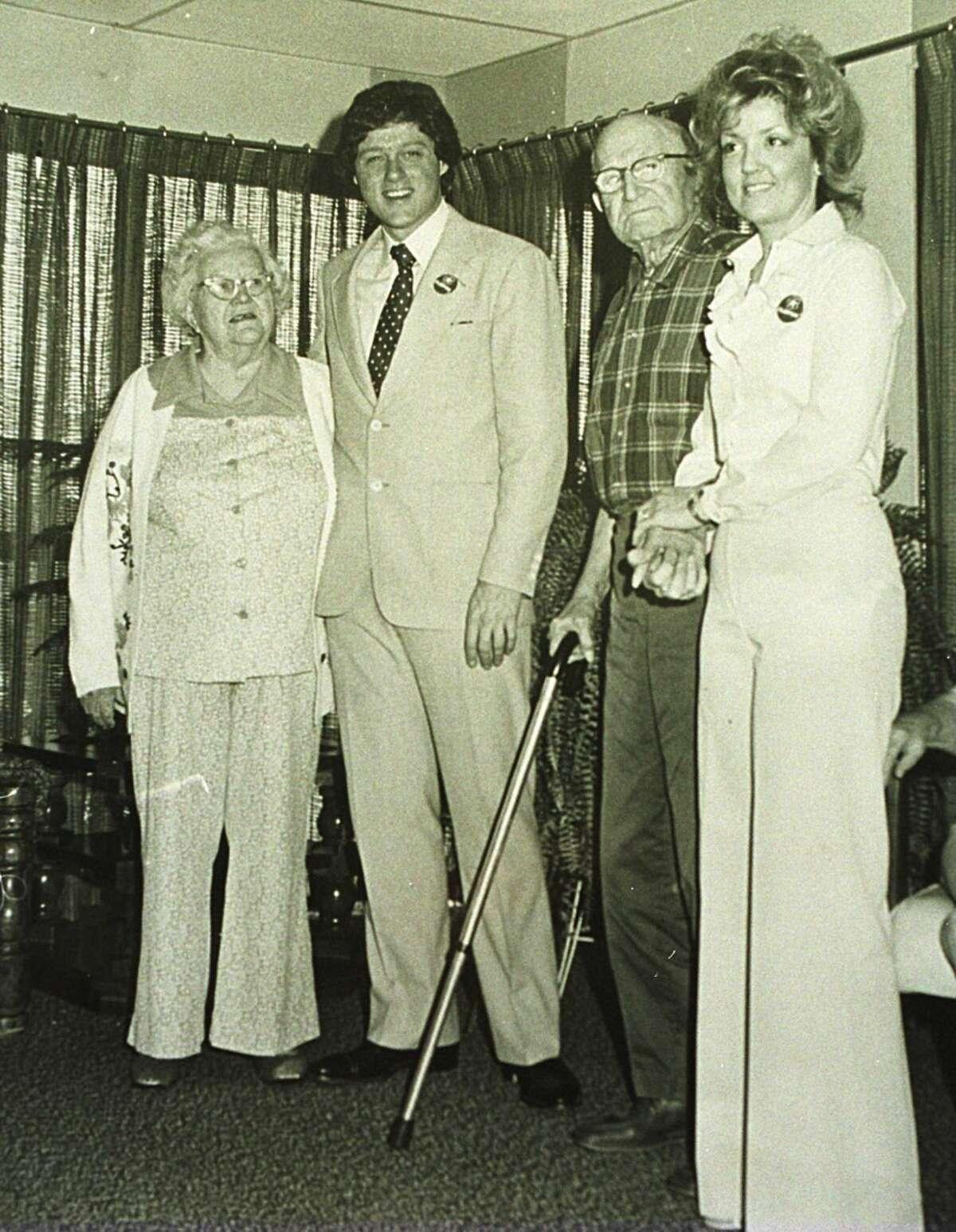 Bill Clinton on a visit to Juanita Broaddrick's (right) nursing home in Van Buren, Ark., circa 1978.