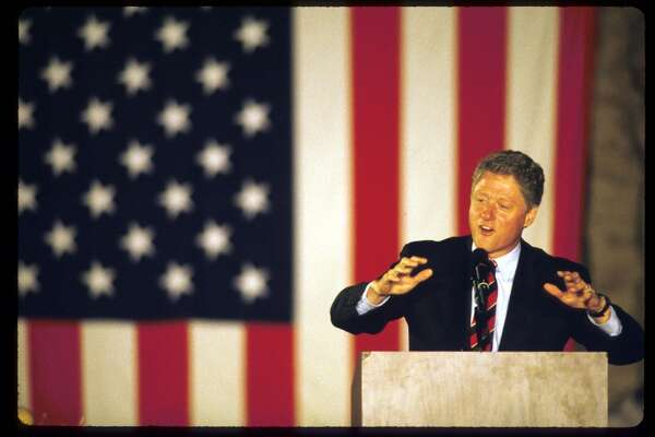 Presidential candidate Governor Bill Clinton (D-AR) speaks on the final weekend of his campaign October 30, 1992 in Springfield, OH. Clinton defeated four other major contenders for the Democratic nomination and defeated incumbent Republican George Bush in the presidential race.