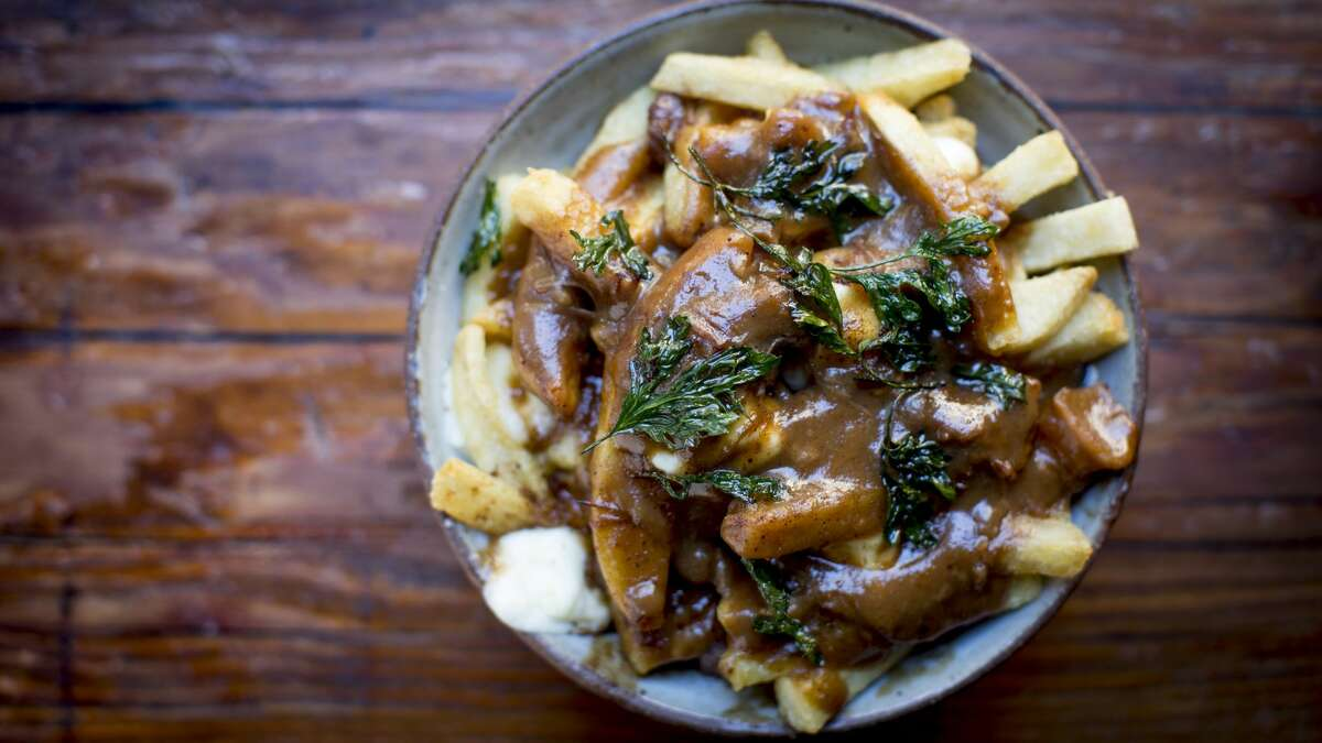 Poutine on bar menus. Over at Salt House in SoMa, you can count on finding a delicious gourmet version of this Canadian dish, but some S.F. locals would like to see the more traditional humble version-a messy heap of fries drowning in gravy and cheese curds-appear on bar menus.