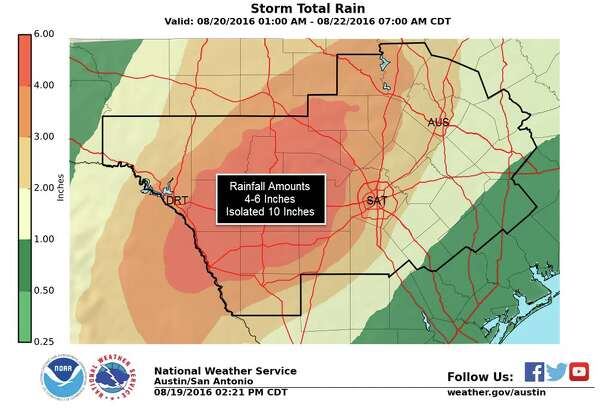 San Antonio Residents should expect lots of rain going into the weekend of Aug. 19, 2016.