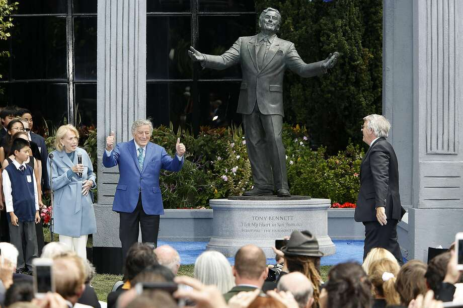 A bronze statue of Tony Bennett was unveiled on his birthday today in front of the Fairmount Hotel on Aug. 19 in San Francisco. Photo: Liz Hafalia, The Chronicle