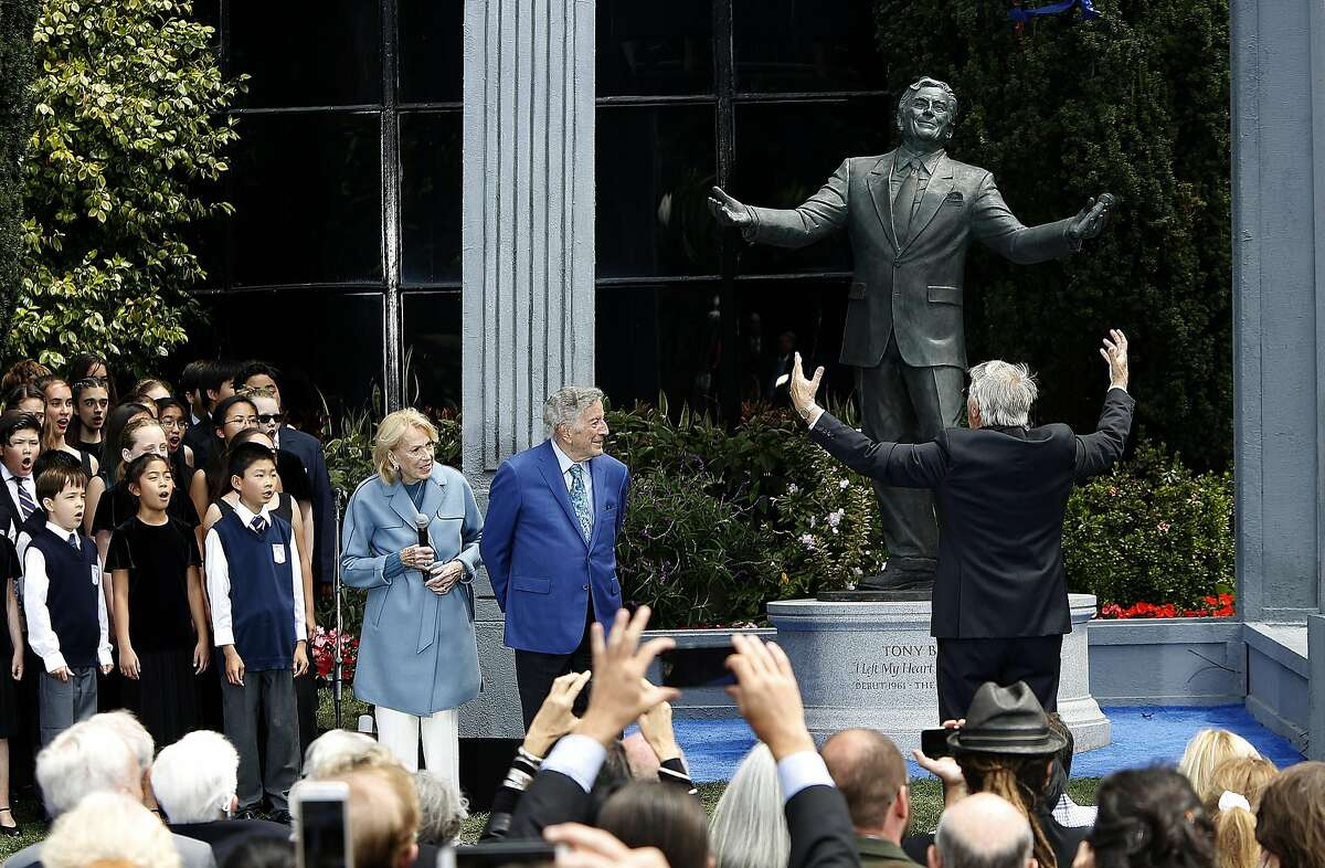 A bronze statue of Tony Bennett was unveiled on his birthday today in front of the Fairmount Hotel on Friday, August 19, 2016, in San Francisco, Calif.