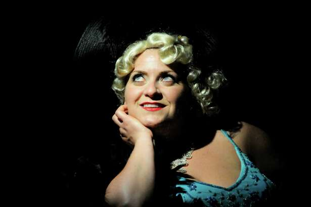 "Melanie Zupaniotis played Mae West in ""Dirty Blonde"" at the Carriage House Arts Center."