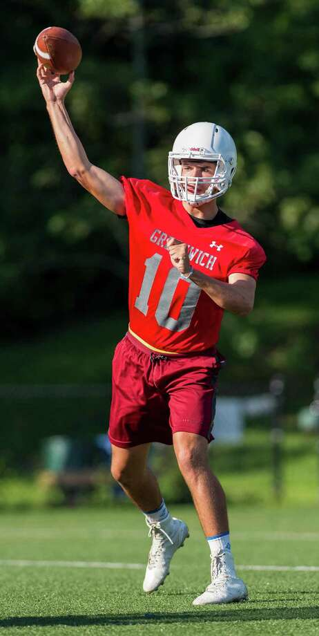 Quarterback Connor Langan throws the ball during the Greenwich High School Football team practice held at Greenwich High School, Greenwich, CT on Friday, August 19, 2016. Photo: Mark Conrad, For Hearst Connecticut Media / Stamford Advocate Freelance