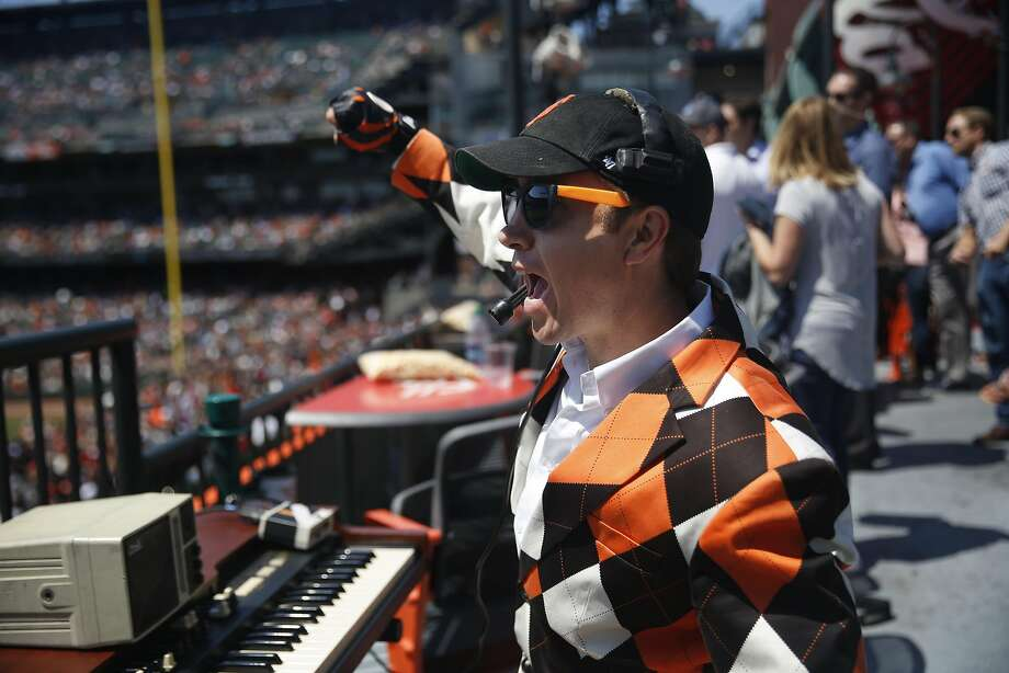 Giants ballpark organist Steve Hogan cheers for the Giants as the San Francisco Giants play the Pittsburgh Pirates as he works at AT&T Park  on Wednesday, August 17,  2016 in San Francisco, California. Photo: Lea Suzuki, The Chronicle